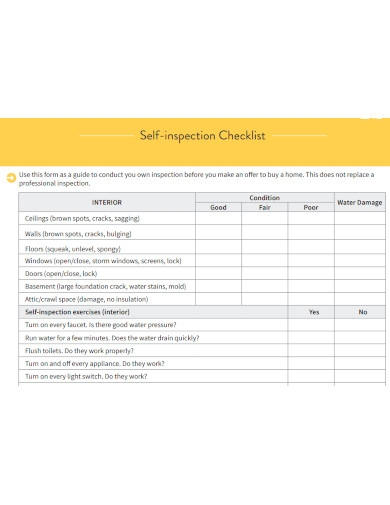 formal self inspection checklists