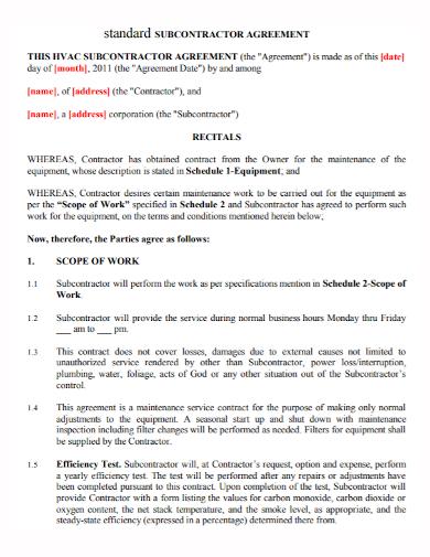 formal standard subcontractor agreement