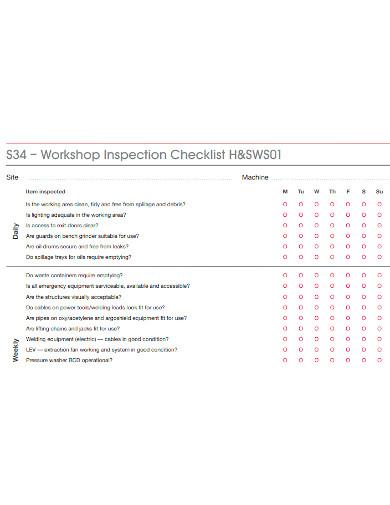formal workshop inspection checklist