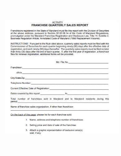 franchise quarterly sales activity report