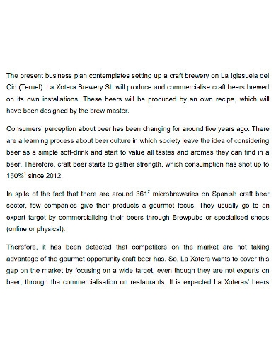 general brewery business plan
