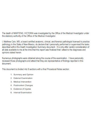 general death investigation report