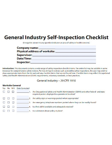 general industry self inspection checklist
