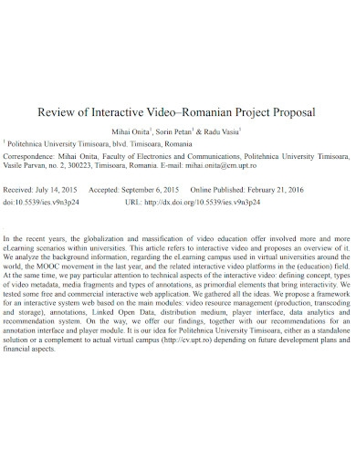 general video project proposal