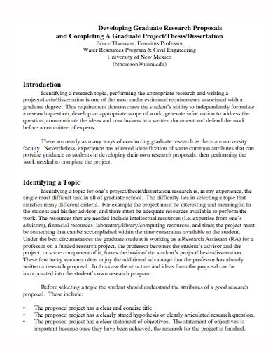 graduate dissertation project proposal