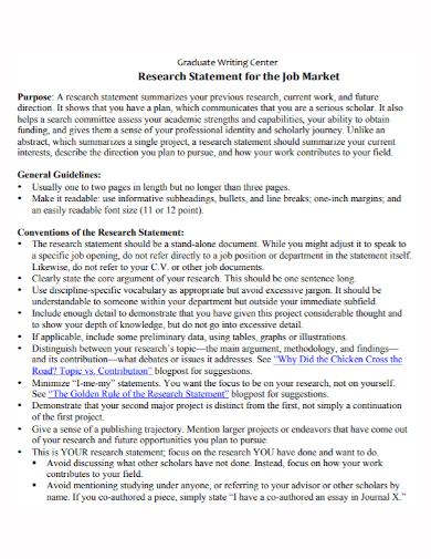 graduate job market research statement