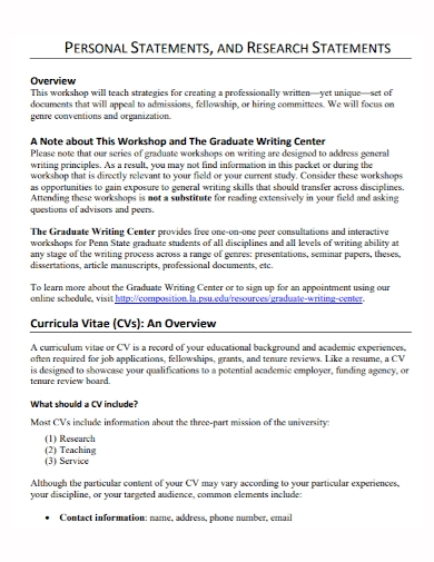 graduate research personal statement