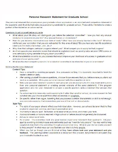 graduate school personal research statement