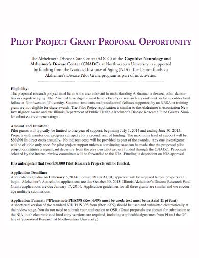grant pilot project proposal