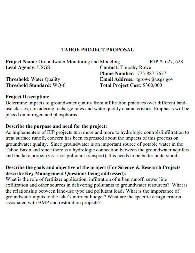 ground water project proposal