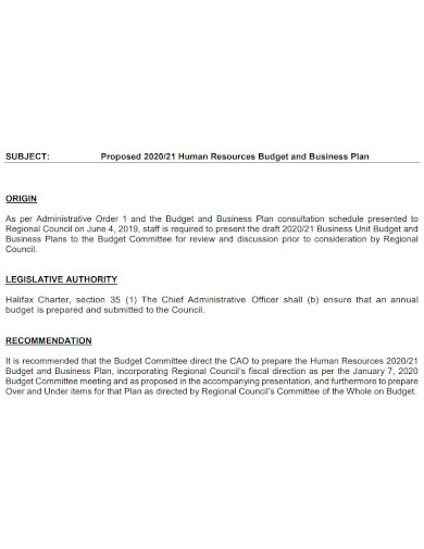 hr business and budget plan