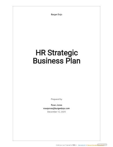 hr strategic business plan sample