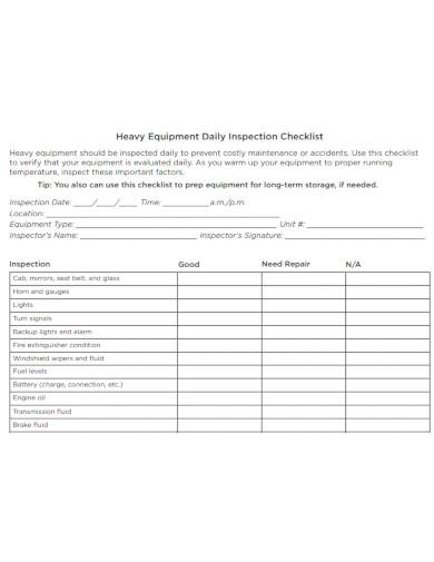 heavy equipment daily inspection checklist