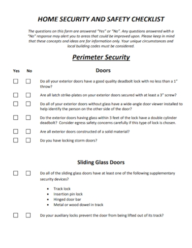 home security and safety checklist