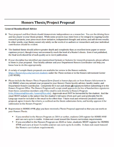 honor thesis project proposal