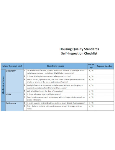 housing quality standards self inspection checklists