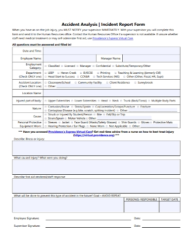 incident accident report analysis