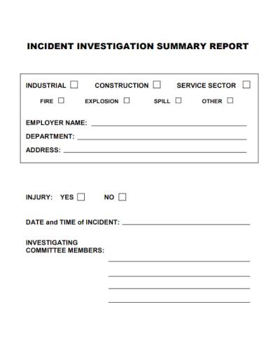 incident investigation summary report