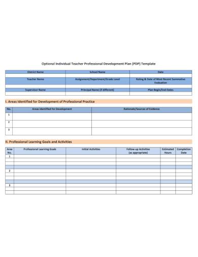 individual teacher development plan
