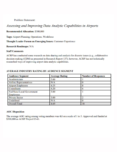 industry data analytics problem statement