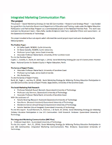 integrated marketing communications project plan