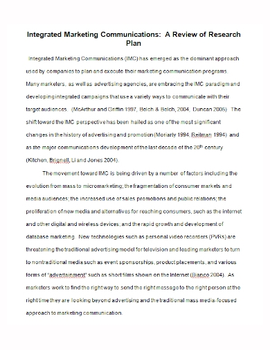 integrated marketing communications review plan