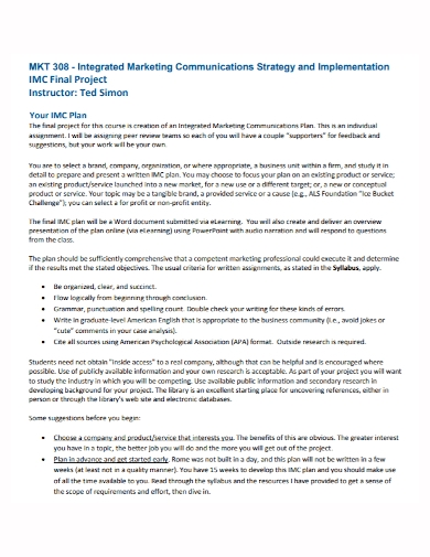 integrated marketing communications strategy plan