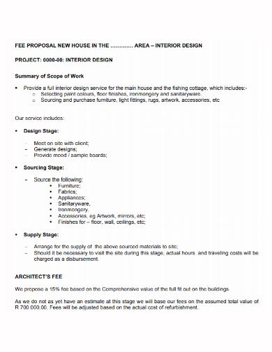 interior design project fee proposal