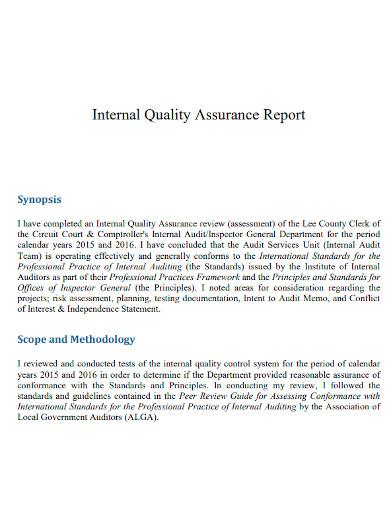 internal quality assurance reports