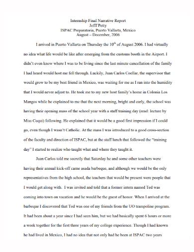 internship final narrative report