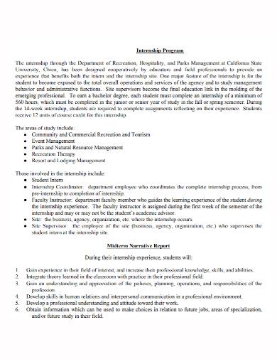 internship program narrative report