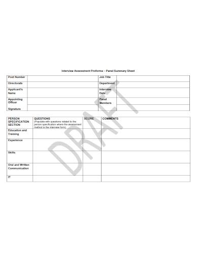 interview assessment summary sheet