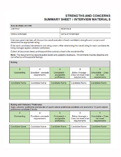 interview materials summary sheet
