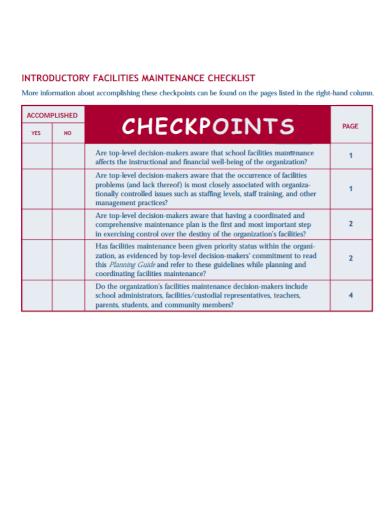 introductory facilities maintenance checklist