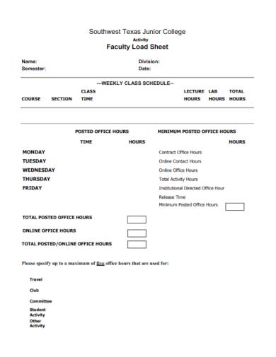 junior college activity load sheet