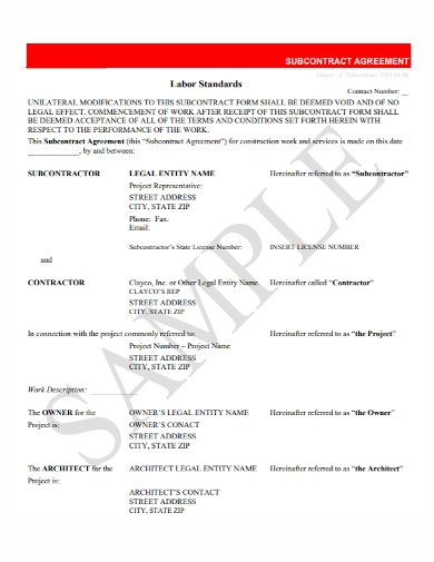 labor standard subcontractor agreement