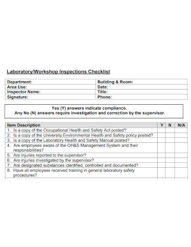 laboratory or workshop inspection checklist