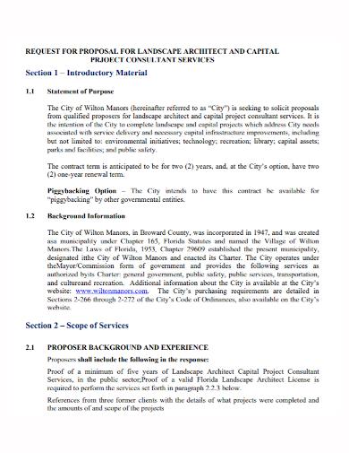 landscape architect project services proposal