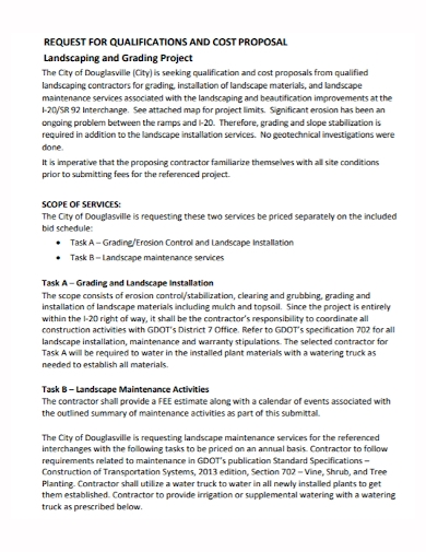 landscape grading project cost proposal