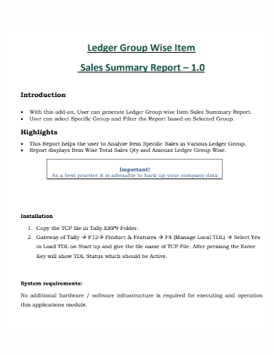 ledger group item sales summary report