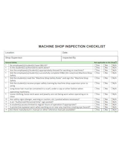 machine inspection checklist sample