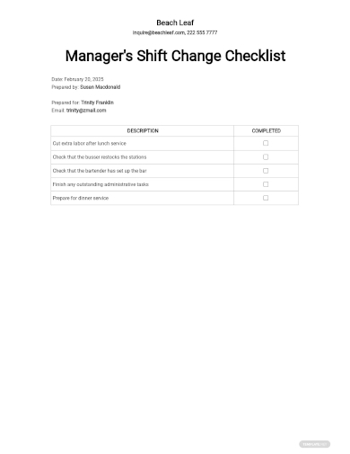 managers shift change checklist template