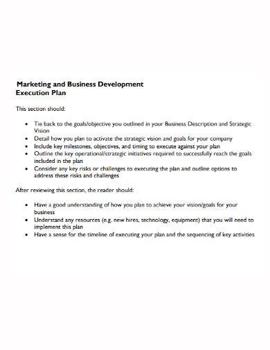 marketing business development execution plan
