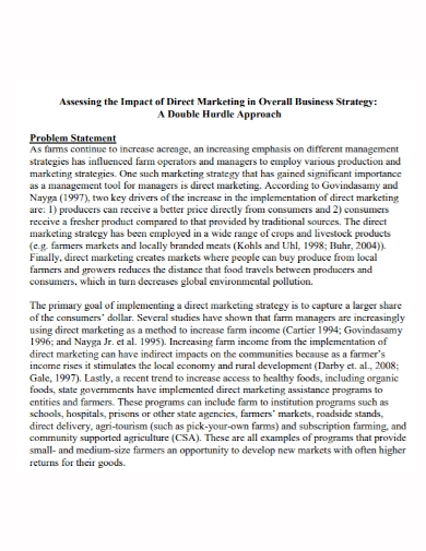 marketing business strategy problem statement