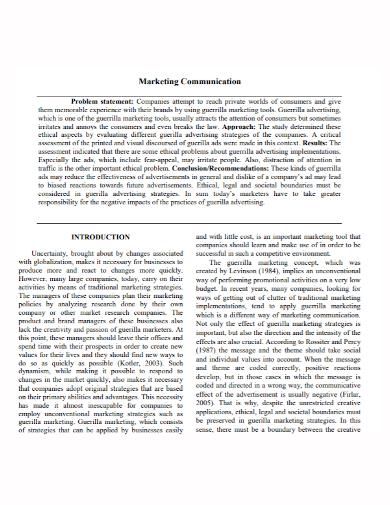 marketing communication problem statement