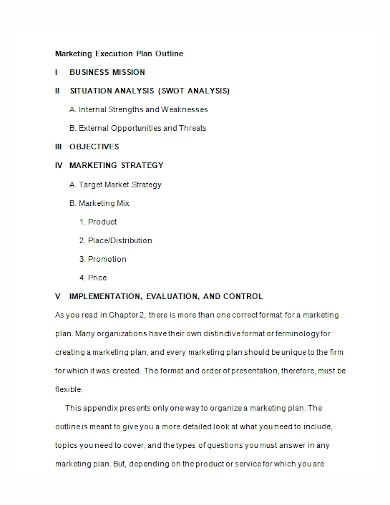 marketing execution plan outline