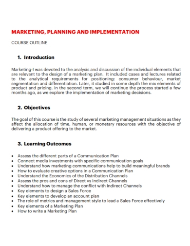 marketing implementation plan
