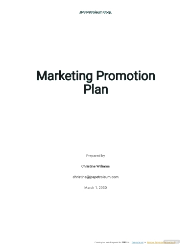 marketing promotion plan template