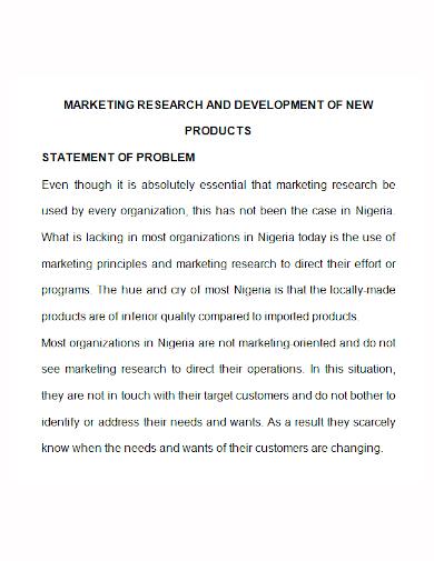 marketing research development problem statement