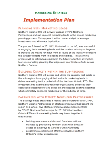 marketing strategy implementation plan